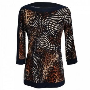 Three Quarter Sleeve Leopard Print Top