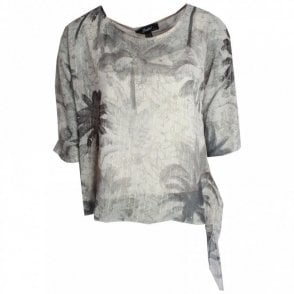 Badoo Three Quarter Sleeve Plam Print Top