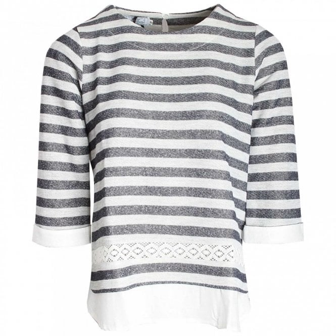 Dani Three Quarter Sleeve Stripped Top