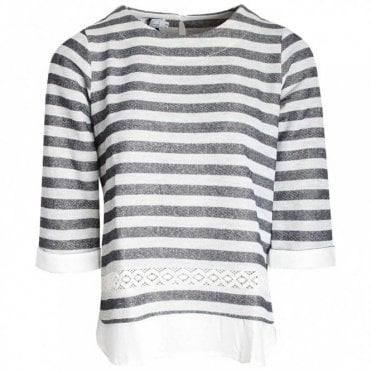 Three Quarter Sleeve Stripped Top