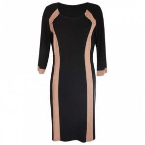 Three Quarter Sleeve Two Tone Dress