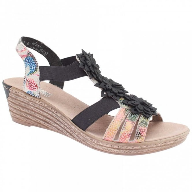 Rieker Trinidad Strappy Flower Wedge Sandal