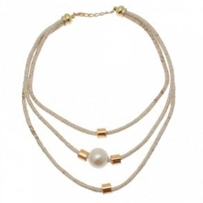 Badoo Triple Rope Pearl Effect Bead Necklace