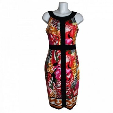 Tropical Print Dress Contrast Collar