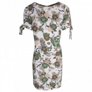Tropical Print Short Sleeve Jersey Dress