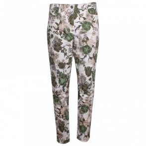 Tropical Print Straight Leg Jeans
