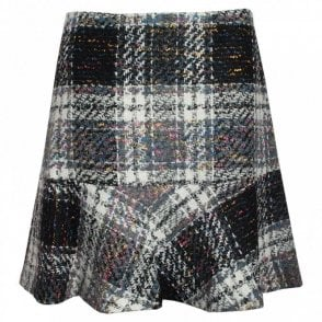 Trumpet Cut Tweed Checked Skirt
