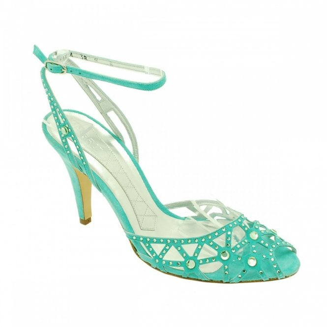 Magrit Turquoise Suede Ankle Strap Diamante