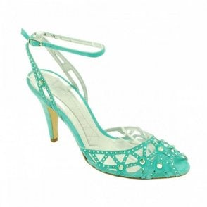 Turquoise Suede Ankle Strap Diamante