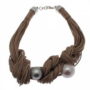 Badoo Twisted Rope/pearl Necklacve
