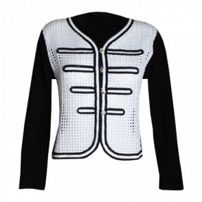Two Tone Diamante Button Box Jacket