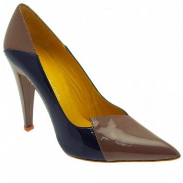 Two Tone Panel High Heel Court Shoe