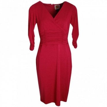 V Neck Ruched Style Jersey Dress