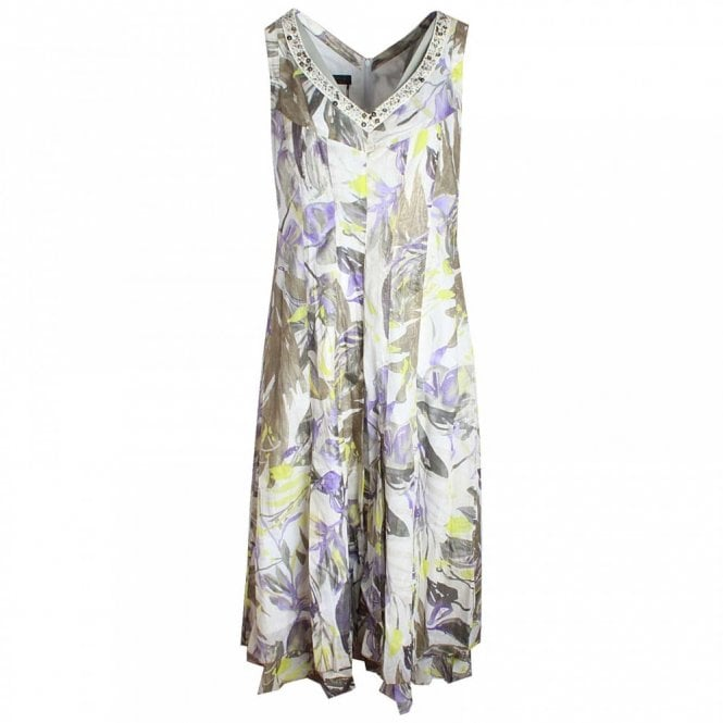 Apanage V-neck Sequin Detail Leaf Print Dress