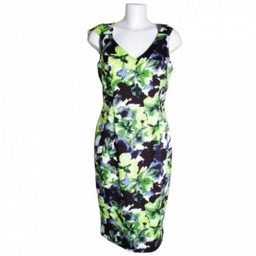 V-neck Shoulde Detail Floral Print Dress