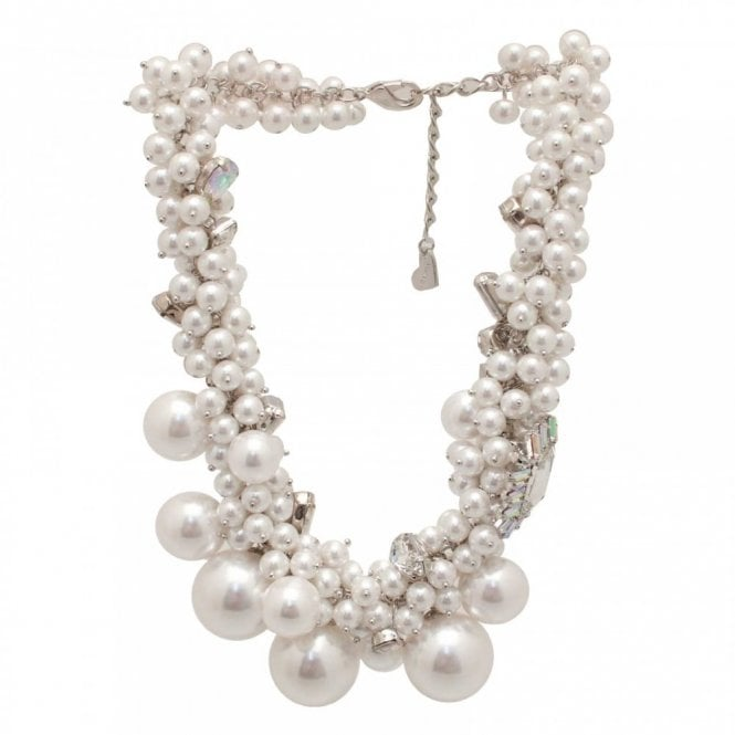 Nour London Varying Size Pearl Effect Bib Necklace