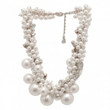 Varying Size Pearl Effect Bib Necklace