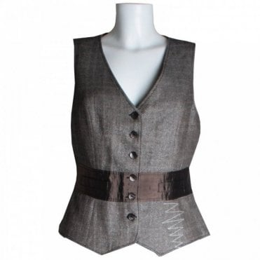 Waistcoat With Contrast Silk Panel