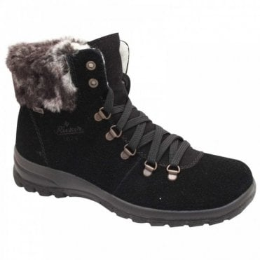 Waterpoof Fur Top Lace Up Snow Boot