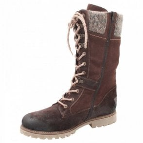 Waterproof Fur Line Lace Up Long Boot