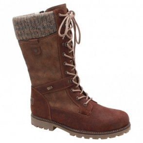 Remonte Waterproof Fur Line Lace Up Long Boot