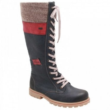 Waterproof Lace Up Welt Cuff Long Boots
