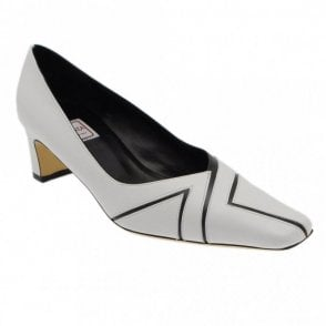 Renata White And Black Low Court Shoe Square Hl