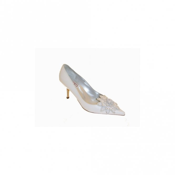 Renata White Court Shoe, Big Diamante Flower