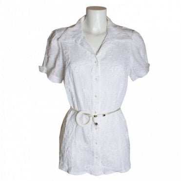 White Emb Blouse W/blt