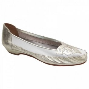 White Matallic Leather Ballet Style Pump