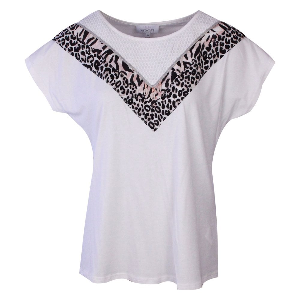 Just White Round Neck Short Sleeve T-shirt