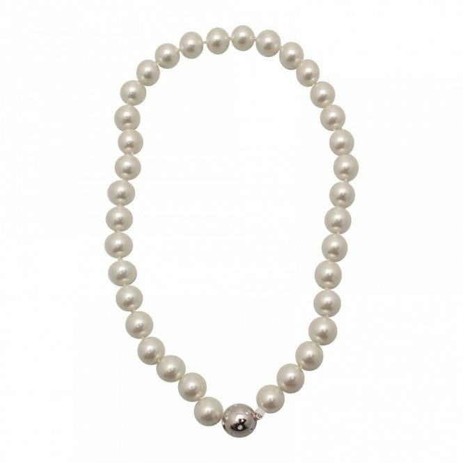 Nour London White Shell Pearl Effect Necklace