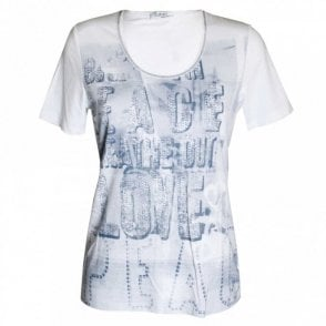 Faber White Short Sleeve Printed T-shirt