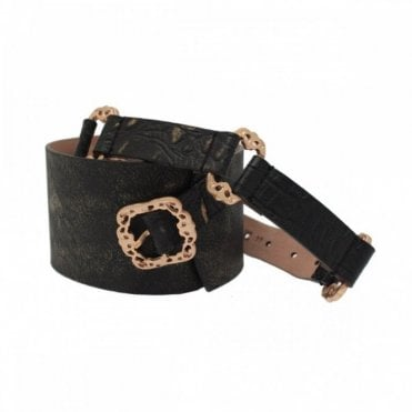 Wide Leather Belt With Brass Buckle