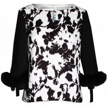 Women's 3/4 Fur Sleeve Top