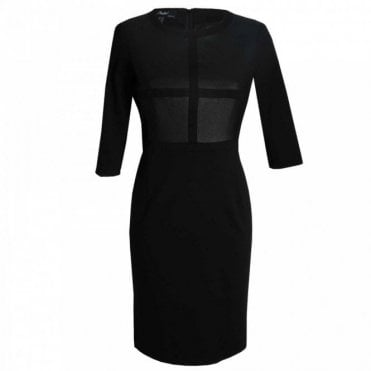 Women's 3/4 Sleeve Contrast Panel Dress