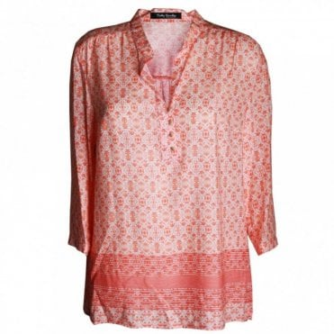 Women's 3/4 Sleeve Printed Smock Tunic