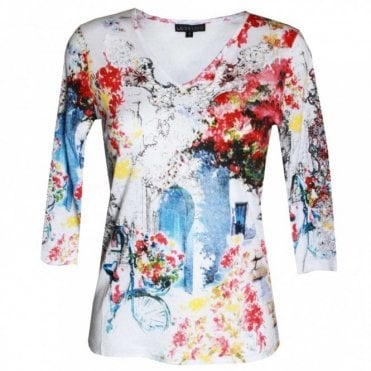 Women's 3/4 Sleeve V-neck Printed Top