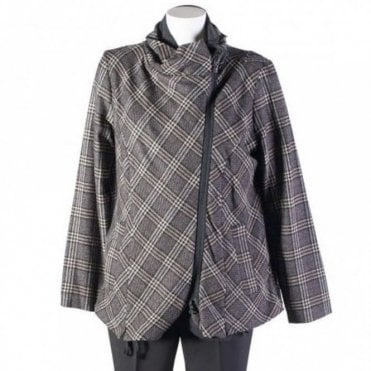 Women's Asymmetric Check Zip Jacket