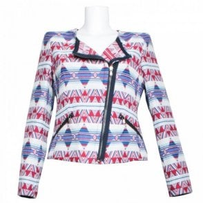 Women's Asymmetric Zip Patterned Jacket