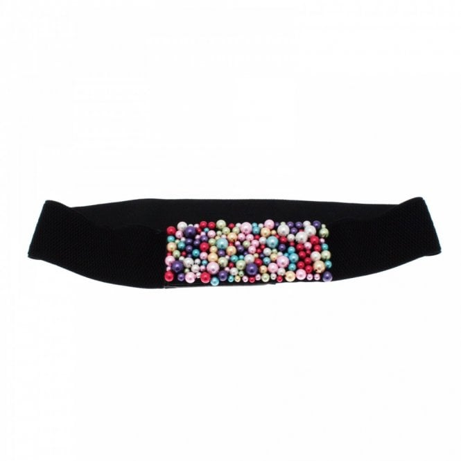 Walk In Style Women's Beaded Panel Elastic Belt