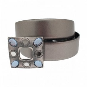 Women's Belt With Crystal Trim Buckle