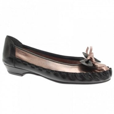 Zaccho Women's Black Leather Flat Ballet Pump