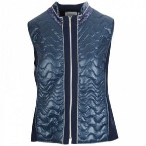 Just White Women's Blue Padded Gilet