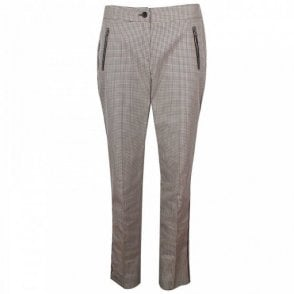 Women's Brown Check Tailored Trousers