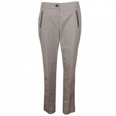 Marie Mero Women's Brown Check Tailored Trousers