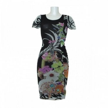 Women's Capped Sleeve Floral Print Dress