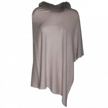 Women's Cashmere Poncho With Fur Collar