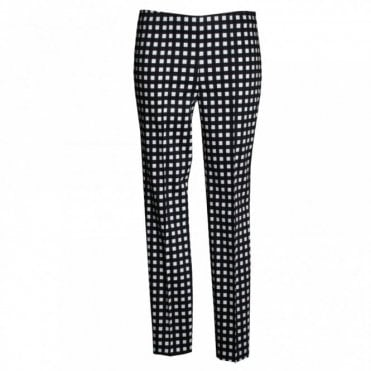 Oui Women's Check Straight Leg Trousers