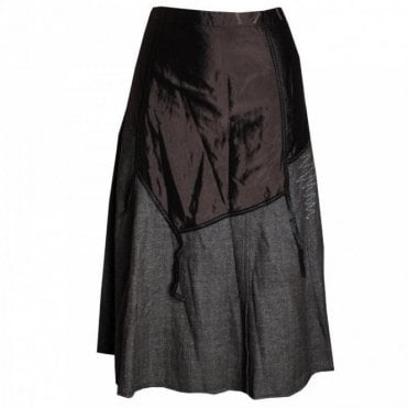 Women's Contrast Fabric Split Skirt